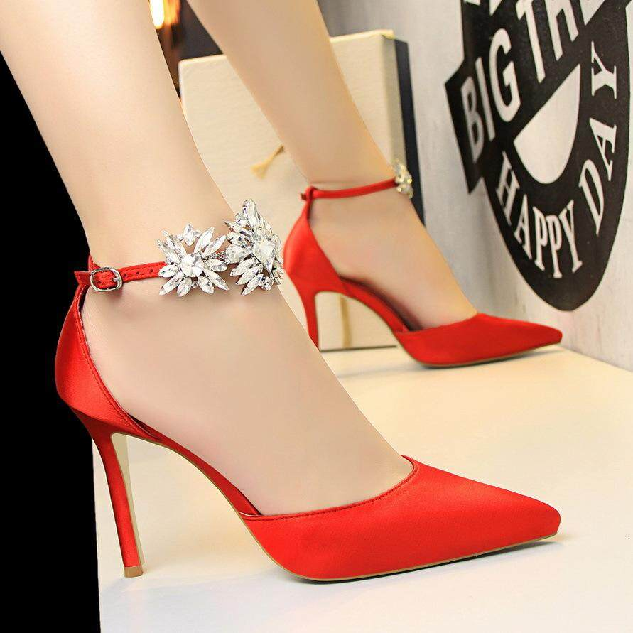 475d1cc9db874 European and American Style High Heels Women Shoes With High Heel Satin  Hollow Shallow Mouth Pointed