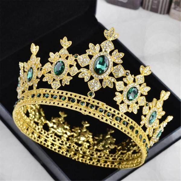 Sang trọng Vương Hoàng Hậu Cưới cô dâu Nhiều Màu Sắc Đá Quả Quýt Hình Vương Miện Đầu Đảng