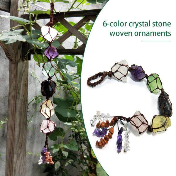 6-color Natural Crystal Stone Hand-woven Ornaments for Window Garden Decoration