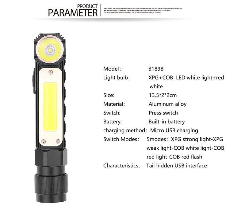 MG【Big Discount】 XPG+COB Red White Light 90 Degree Adjustable USB Charging Working Flashlight