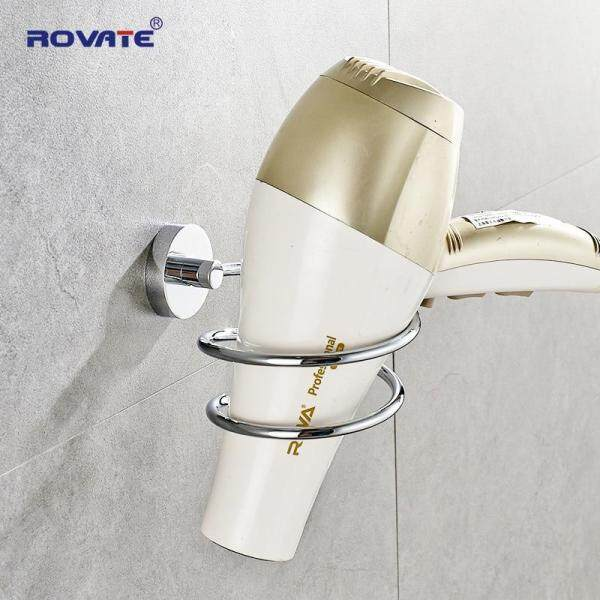 ROVATE Bathroom Hair Dryer Holder Stainless Steel Wall Mounted Shelving Shelf  Chrome Hairdryer Holder Accessories