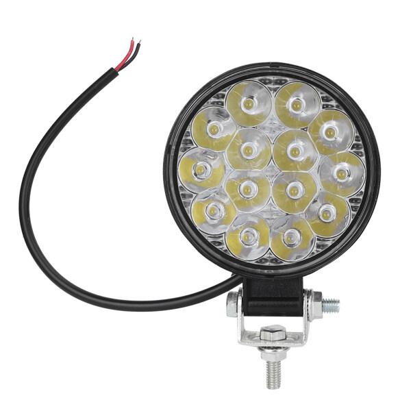 Đèn Làm Việc Tròn Mini 42W 14LED 6000K 2500LM Đèn Pha Phụ Trợ Sửa Đổi Cho Xe Hơi