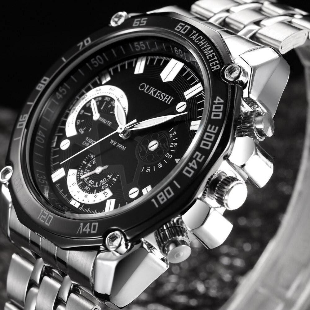 BPFAIR Men Luxury Stainless Steel Quartz Military Sport Steel Band Dial Wrist Watch A Free shipping Malaysia