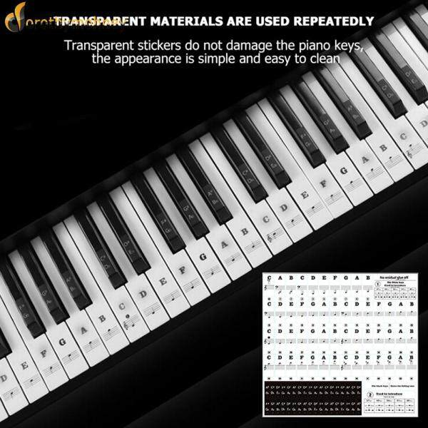 [Dorothymohney]Black Letter PVC Piano Key Stickers Elements Lightweight Portable Music for 37 49 54 61 88 Keys Malaysia