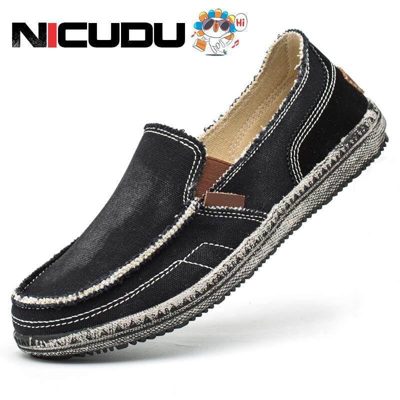 Nicudu ผู้ชายรองเท้าผ้าใบคลาสสิกรองเท้าสบายๆรองเท้าผ้าใบผู้ชายผู้ชายขี้เกียจรองเท้ารองเท้าคัทชูผู้ชาย Slip On Loafer Denim Casual แบน Loafers-Kasut Rata Kasut Musim Bunga Musim Luruh Musim Luruh/ฤดูใบไม้ผลิและฤดูใบไม้ร่วงยีนส์รองเท้าลำลองแบน.