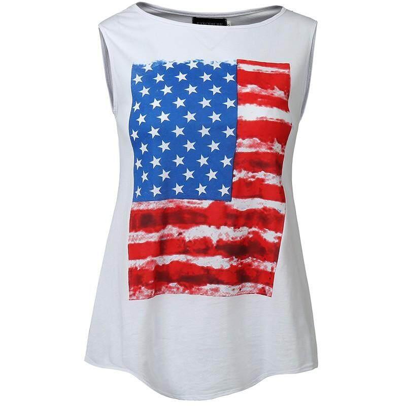 Yonger Kasual Wanita Tanpa Lengan Tank Top Kamuflase Bendera Amerika Cetak Kemeja Camo By Yonger Shopping.