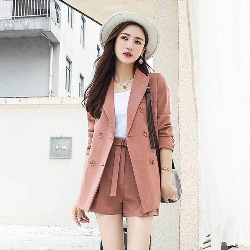 3a7f15054 Casual 2 Pieces Set Fashion Short Suits Notched Collar Blazer Jacket &  Sashes Shorts Women Pant Suits Wear to Work Suits 2019