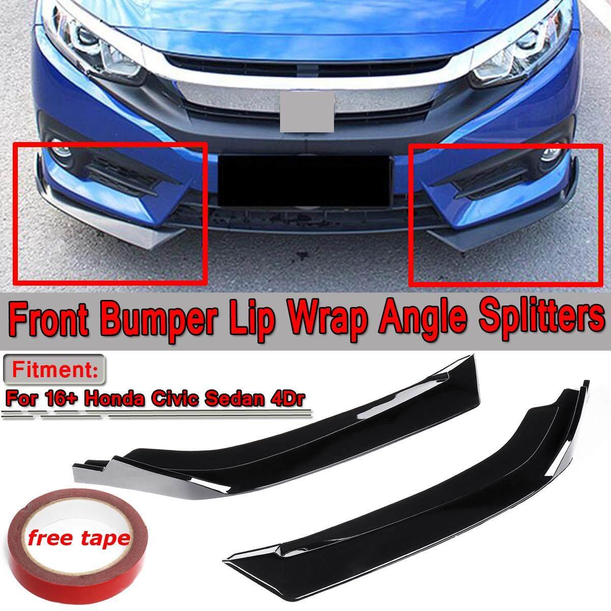 【free Shipping + Flash Deal】pair Gloss Black Front Bumper Lip Diffuser Splitters For Honda Civic Sedan 16-18 By Threegold.