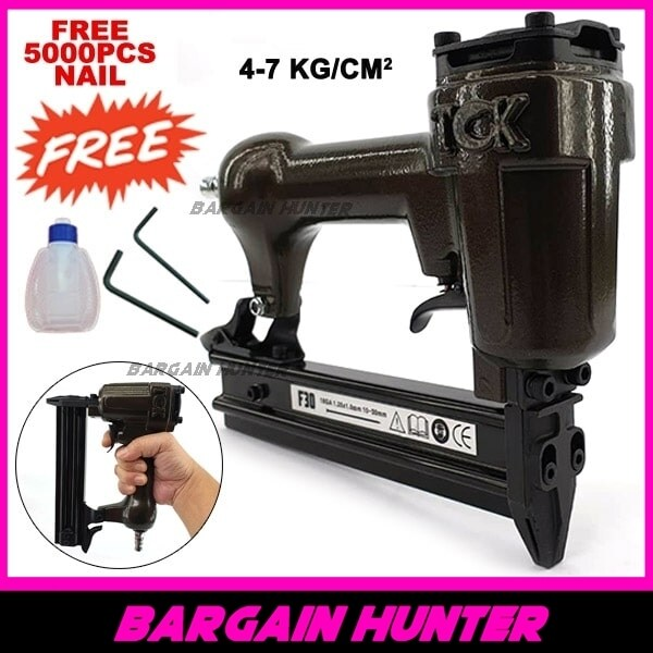 BARGAIN HUNTER - Heavy Duty TCK F30 Air Nail Gun Pneumatic Air Stapler Gun Air Nailer F30 4-7kG/CM2 FREE 5000PCS F30 Nail