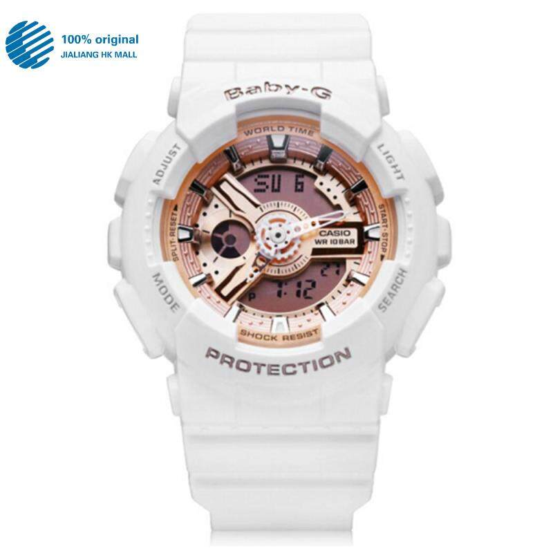 (2 Years Warranty) Original Casio Baby G_BA110 BA-110 Women Sport Digital Watch Duo W/Time 200M Water Resistant Shockproof and Waterproof World Time LED Light Girl Wist Sports Watches BA-110-7A1 Rose Gold White Malaysia