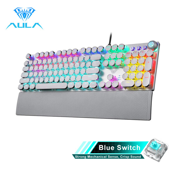 YFD AULA F2088/F2058 Mechanical Gaming Keyboard Detachable wrist rest Multimedia Knob Marco Programming metal panel LED Backlit keyboard for PC Gamer (Punk keycap) Singapore