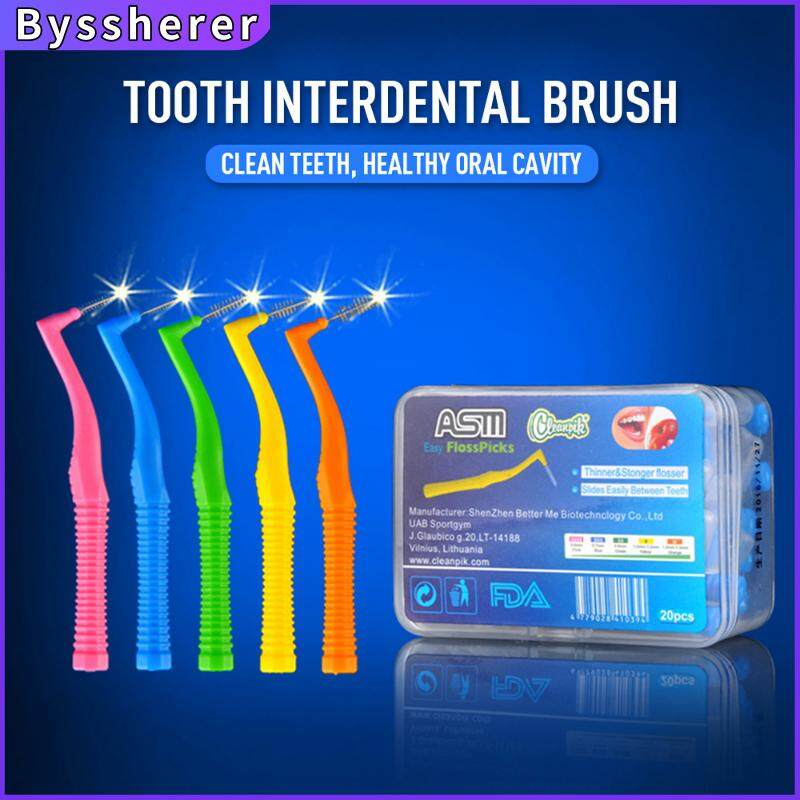 Byssherer 20 pcs Braces Toothbrush L Type 7 Type Interdental Brushes Between Teeth–Braces Tooth Brush Cleaner 0.6~1.5mm