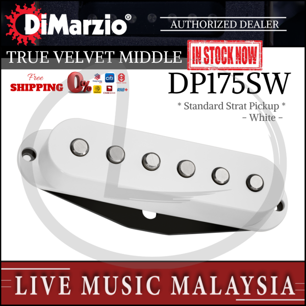DiMarzio DP175SW True Velvet Single Coil Middle Electric Guitar Pickup, White (DP175S) Malaysia