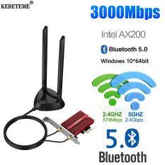 KEBETEME 3000Mbps Băng Tần Kép Để Bàn Không Dây PCI-E Cho Intel AX200 Cộng Với Thẻ 802.11a AX 2.4 Gam/5Ghz Bluetooth 5.0 PCI Express WiFi 6 Adapter