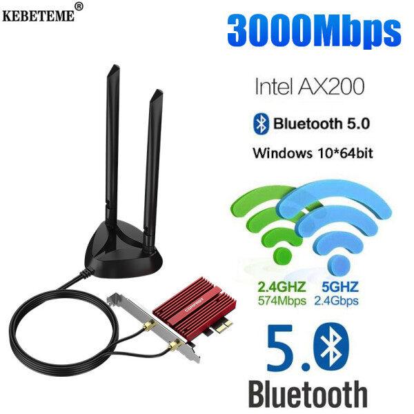 Giá Kebeteme Máy tính để bàn không dây băng tần kép PCI-E 3000Mbps Cho thẻ Intel ax200 Plus Bộ chuyển đổi 802.11ax 2.4G/5GHz Bluetooth 5.0 PCI Express Wifi 6