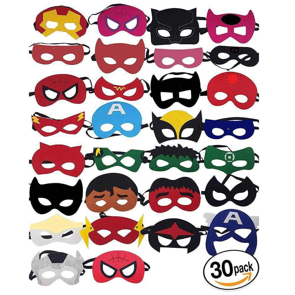 [Hot sale promotions❤]30Pcs Superhero Masks Cartoon Felt Masks Party Cosplay Mask Kids Halloween decoration Eyes Mask Cute Cartoon Masquerade Party Cosplay Dress Child Costume Toys
