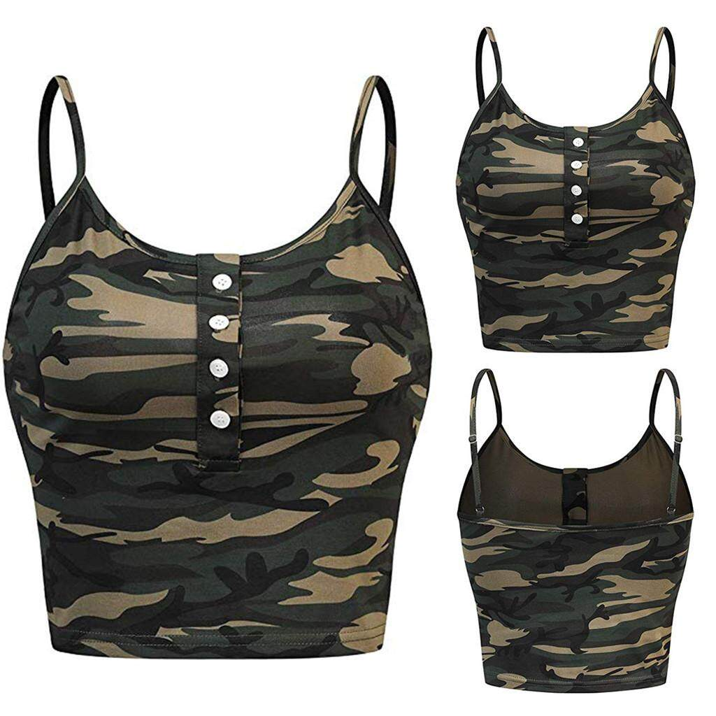 3a2829a7ed42 Joomia Womens Sleeveless O-neck Button Up Casual Camouflage Print Vest Cami Tank  Top Hot