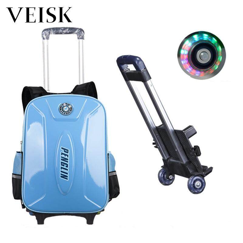 Veisk Children Three Rounds Rod Bag Primary School Students Boy 12 Years Old Girls Six-wheeled Can Climb The Stairs