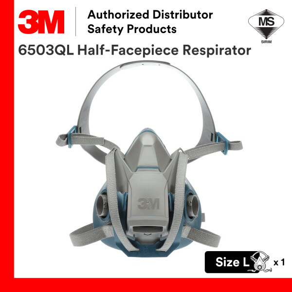 3M 6503QL Reusable Half Facepiece Rugged Silicone Respirator Large Size / SIRIM DOSH Approval [Respirator Only, Not Including Cartridge/ Filter]