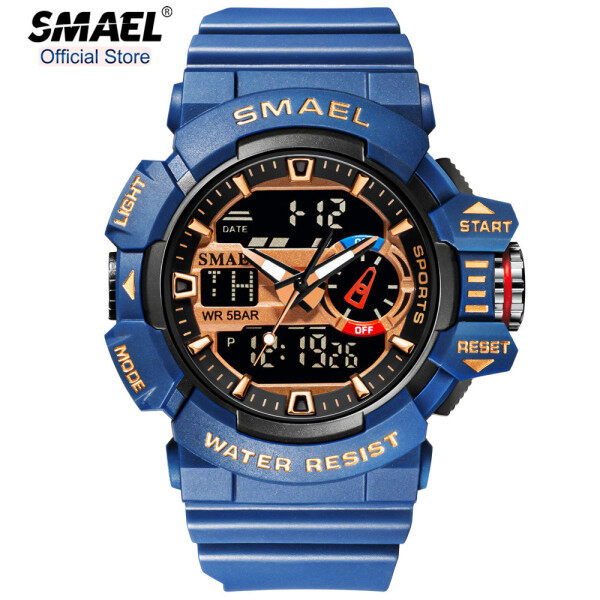 SMAEL Top Brand Luxury Mens Sport Watches Fashion Military LED Digital Display Outdoor Stopwatch Waterproof Casual Original Watch Malaysia