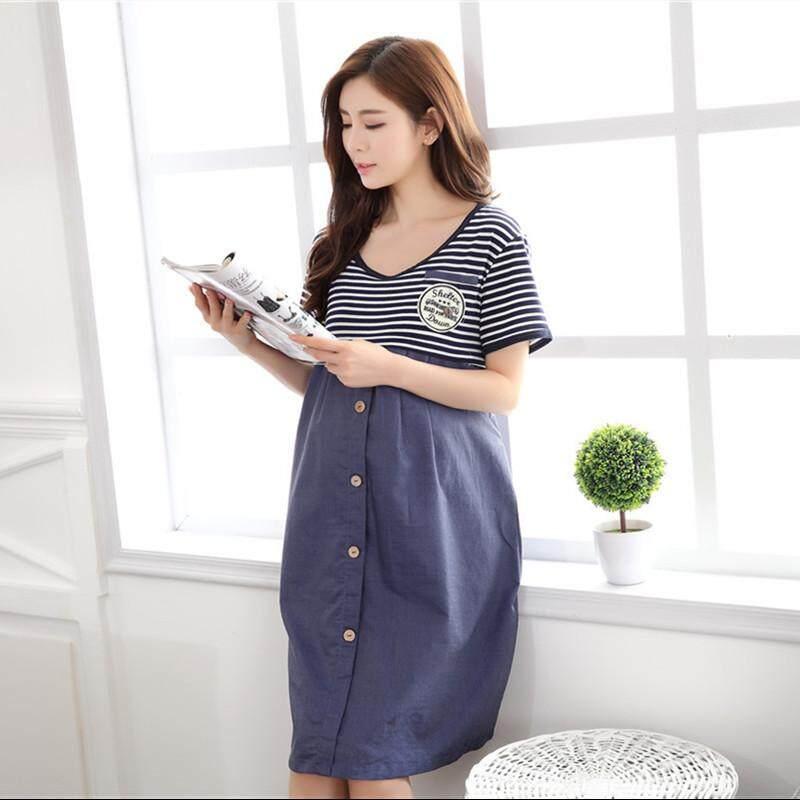 Pregnant Women Breastfeeding Dress Letters Striped Short-Sleeved Denim Skirt Maternity Dress By Ycitshop.