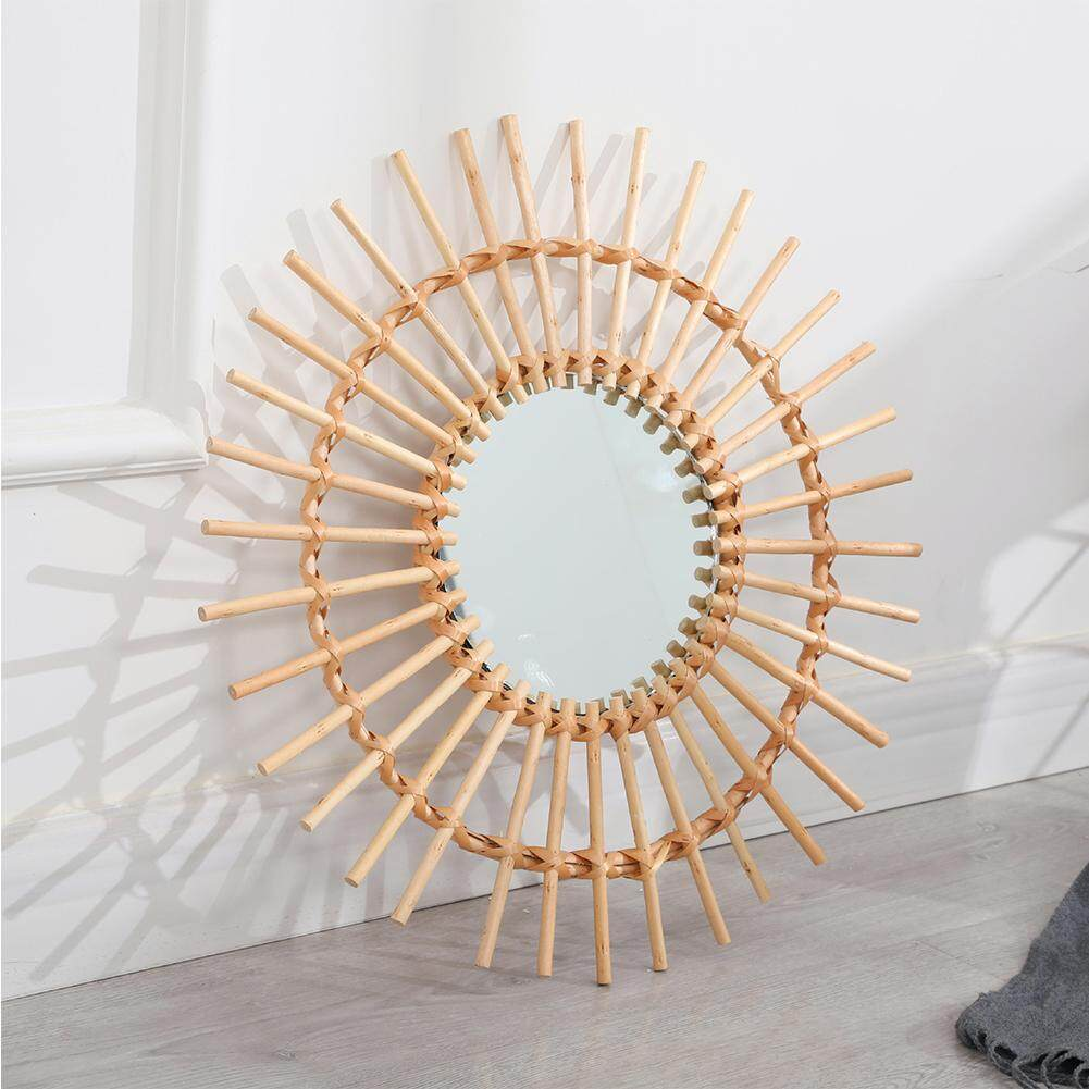 Round Living Room Art Deco Bathroom Rattan Dressing Wall Hanging Mirror