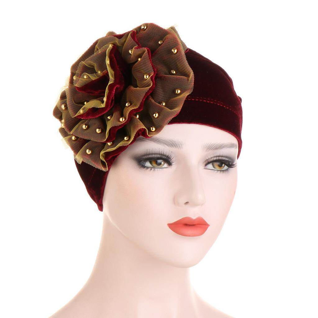Women Pearl Beading Floral India Hat Muslim Ruffle Cancer Chemo Beanie Wrap Cap