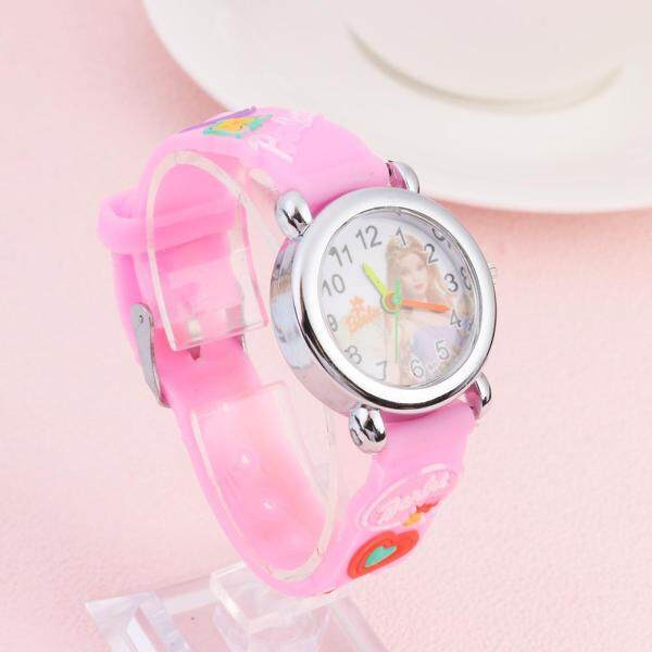 [RAYA SALE] [Chinatera] Fashion Creative Girls Boys 3D Silicone Strap Quartz Watch Casual Kids Cartoon Barbie Doll Round Dial Analog Wristwatches Gift Malaysia