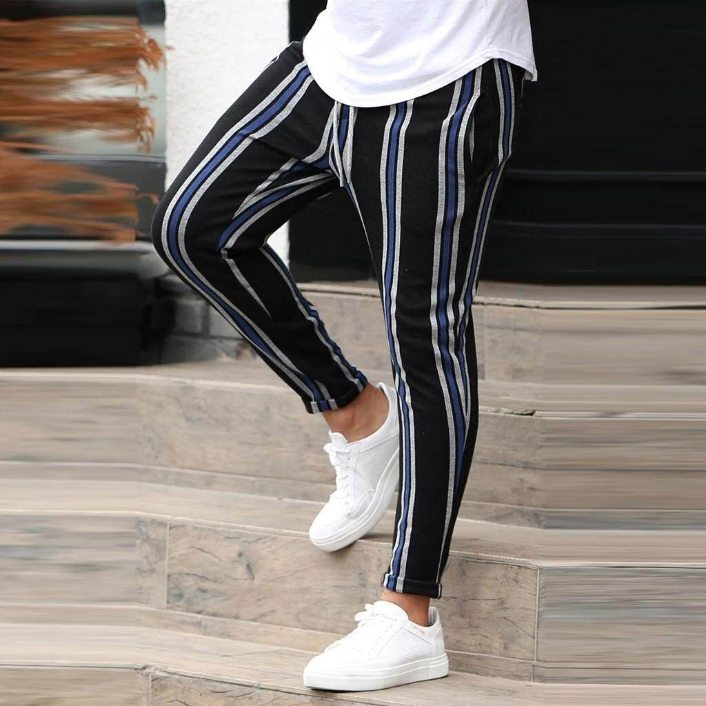 Manzzy Men Zipper Casual Splice Stripe Beach Pants Great for Party,Daily,Beach