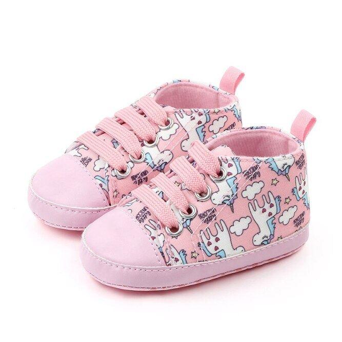 Giày thể thao in hình kỳ lân làm bằng vải bông mềm dành cho bé gái sơ sinh mới tập đi - INTL giá rẻ