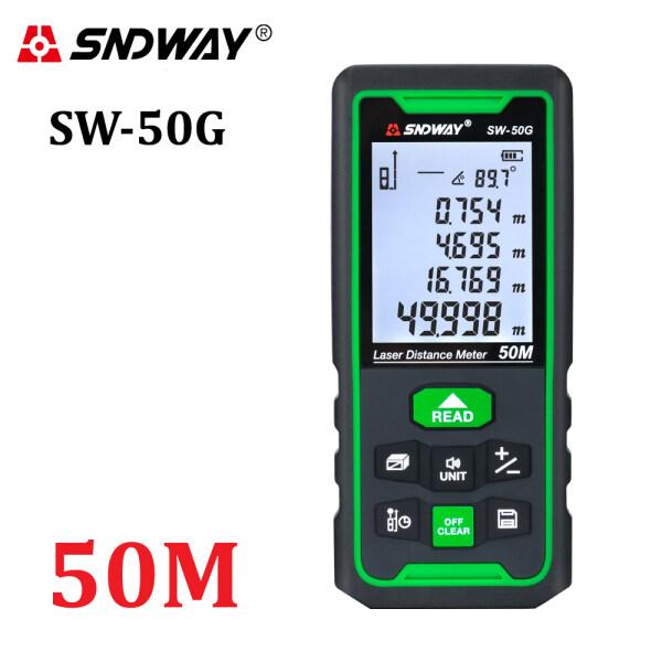 SNDWAY SW-50G Distance Meter Green Beam Range Finder  50m Rangefinder Trena Tape Measure Ruler Roulette Angle Measurement