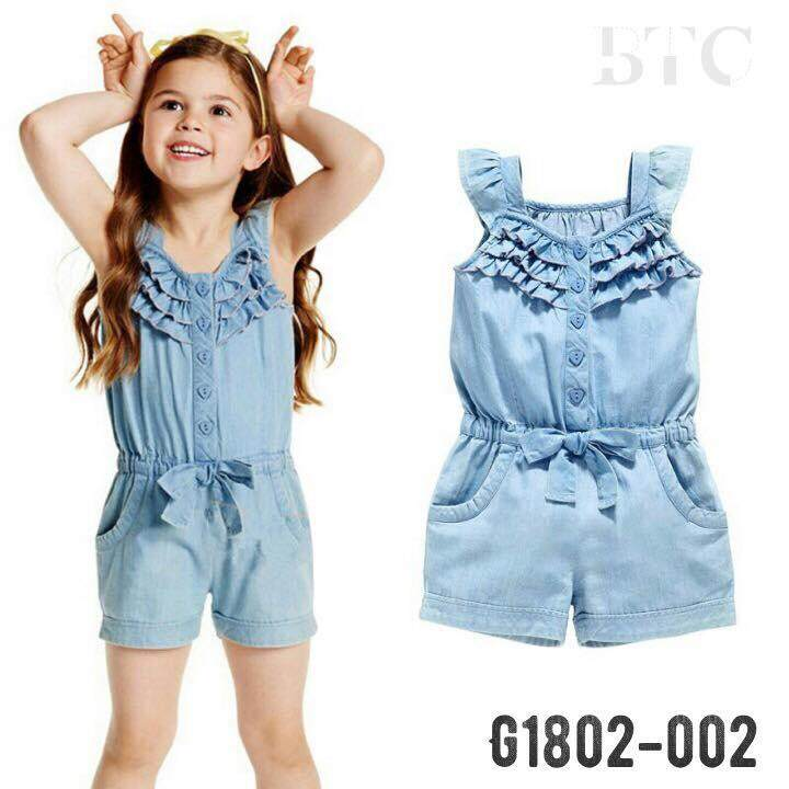 6c0990a36fd MY Lovely Pretty Girls denim jumpsuit Girls jeans jumpsuit set wear One  Piece Set Summer Soft