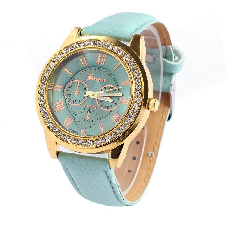 293aee1a4 BPFAIR Fashion Women Faux Leather Geneva Roman Numerals Analog Quartz Watch  Green Malaysia