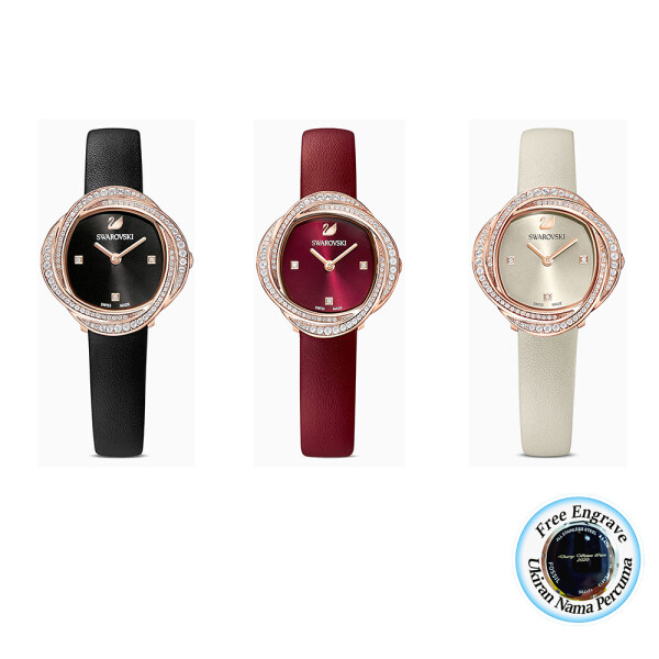 [FREE ENGRAVE]Original Swarovskii CRYSTAL FLOWER 30mm Swiss Made Lady Leather Watches with 2 Years Warranty Malaysia