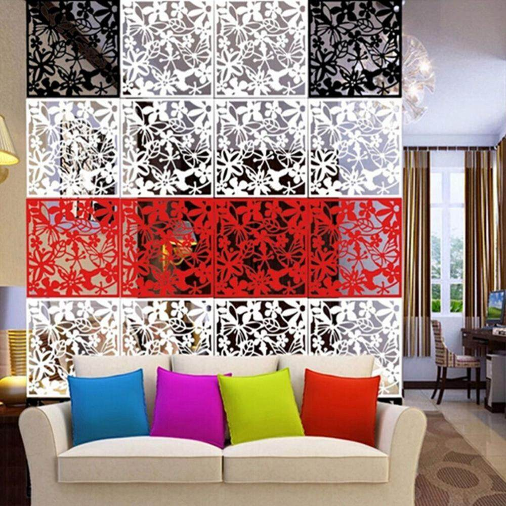 Loviver 12pcs Flower Wall Hanging Room Divider Space Folding Screens White,Black,Red