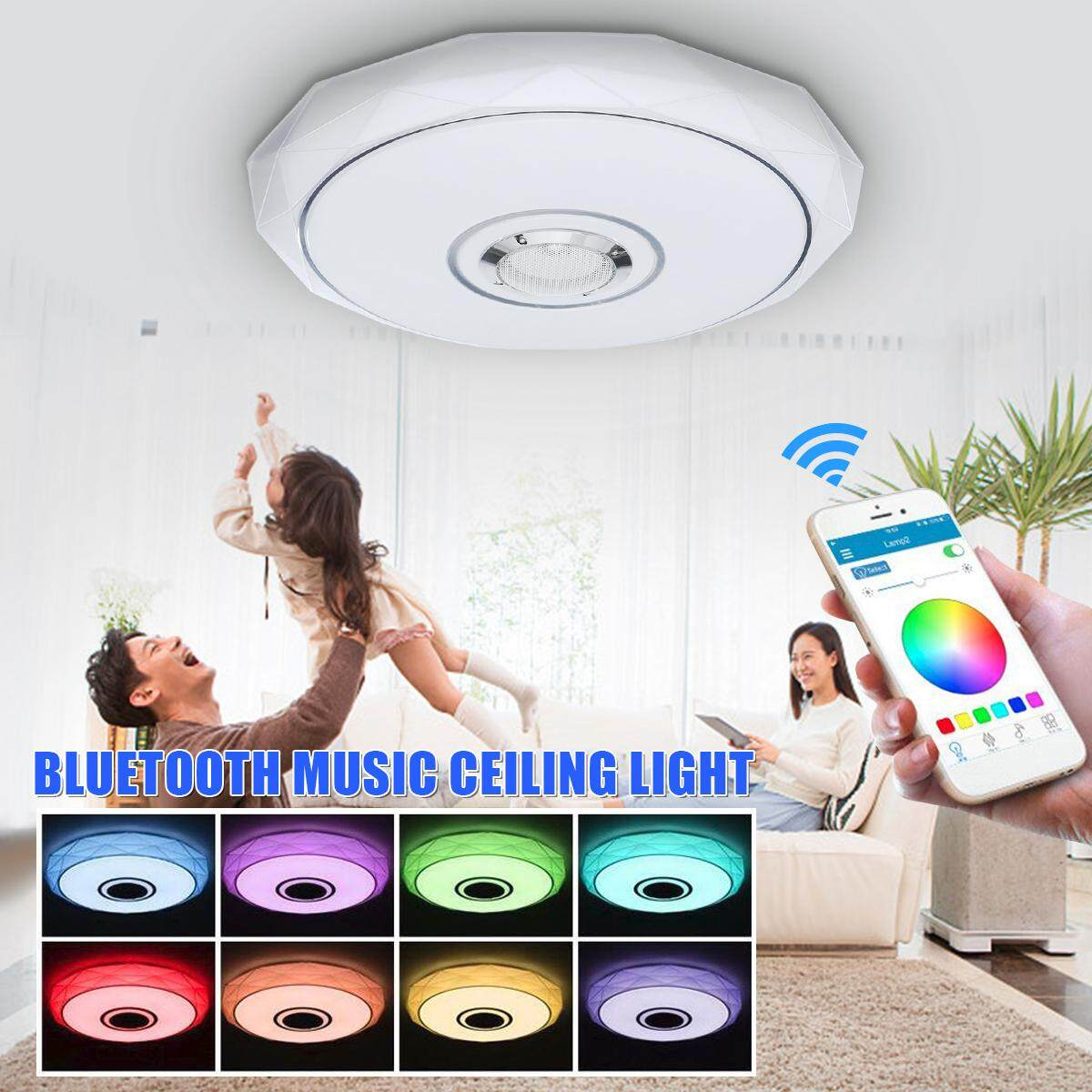 【Free Shipping + Flash Deal】LED Bluetooth Flush Mount Ceiling Light Lamp Phone APP Control Music Speaker Colorful
