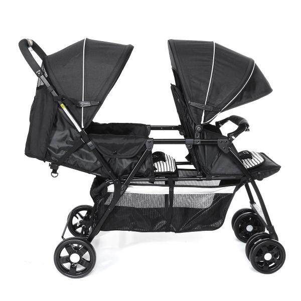 【September New Arrival】(BLACK-2 in 1) Comfortable Double Seat Twin Baby Child Front And Back Tandem Compact Stroller-With large storage basket, sun canopy and foldable back seat Singapore