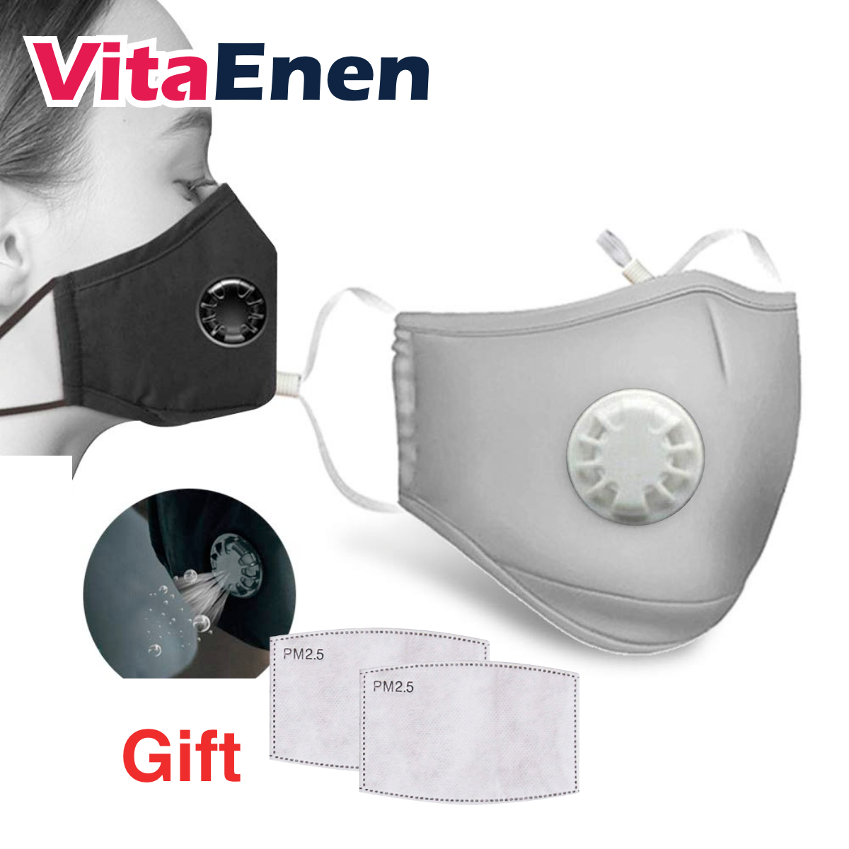 VITAENEN Mouth Cover Anti Fog Haze Respirator Filter,100% Cotton 5 layer Unisex Men Women Cycling Anti Haze Dust Mouth Face Respirator,PM2.5 anti-fog and dustproof Mouth,Face Mouth With Replaceable Filter