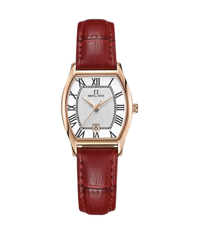 Solvil et Titus Womens Quartz Analogue Watch in Silver White Dial and Leather Strap Malaysia