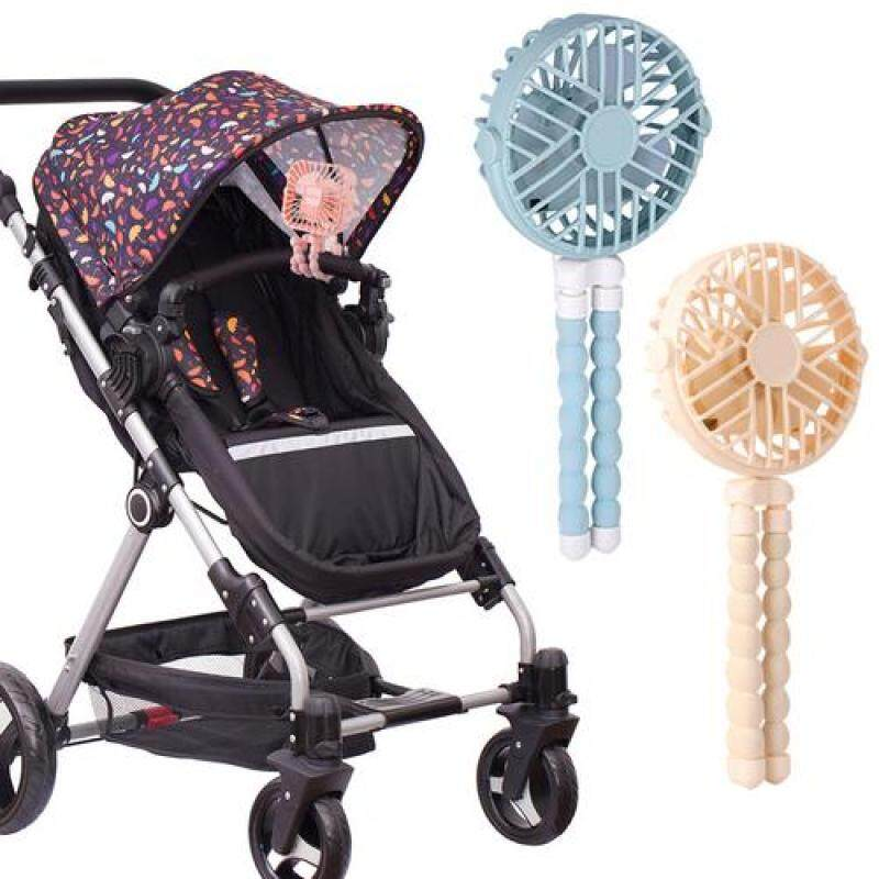 Mini Hand-held Stroller Fan USB or Battery Powered Adjustable 3 Speeds Portable Car Seat Baby Fan with Flexible Tripod Desk Fan-YELLOW Singapore