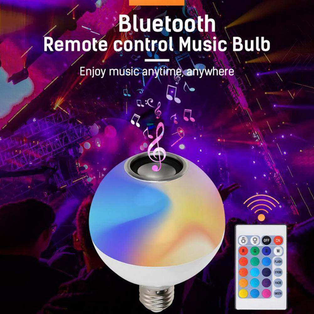 Smart E27 RGB Bluetooth Speaker LED Bulb Light Dimmable with Remote Control