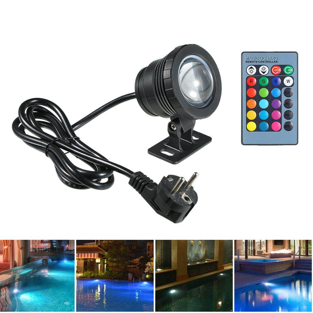 AC85-265V 10W RGB Underwater Light Submersible Lamp with Remote Control 16 Colors Changing Flash/ Strobe/ Fade/ Smooth 4 Lighting Effects IP68 Water Proof Design for Pool Aquarium Pond Spray Fountain Festival Wedding Function Black/Silver EU Plug