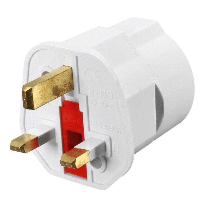 GFW 1 European 2 Pin To Uk 3 Pin Plug Adaptor Euro Eu Schuko Travel Mains