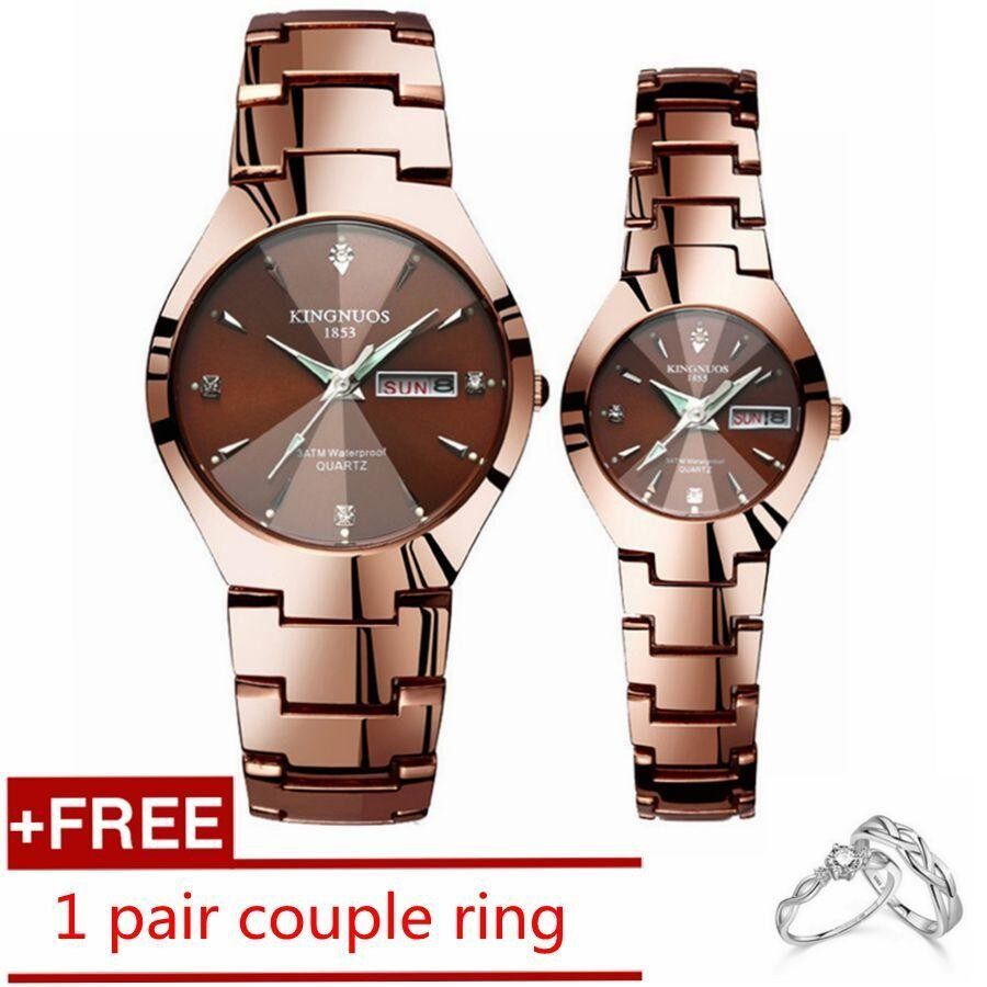 Discounted 1 Pair Couple Watches Luxury Top Date Quartz Watches Stainless Steel Watch For Men Women Lover Luminous Wrist Watch Free Couple Ring Intl