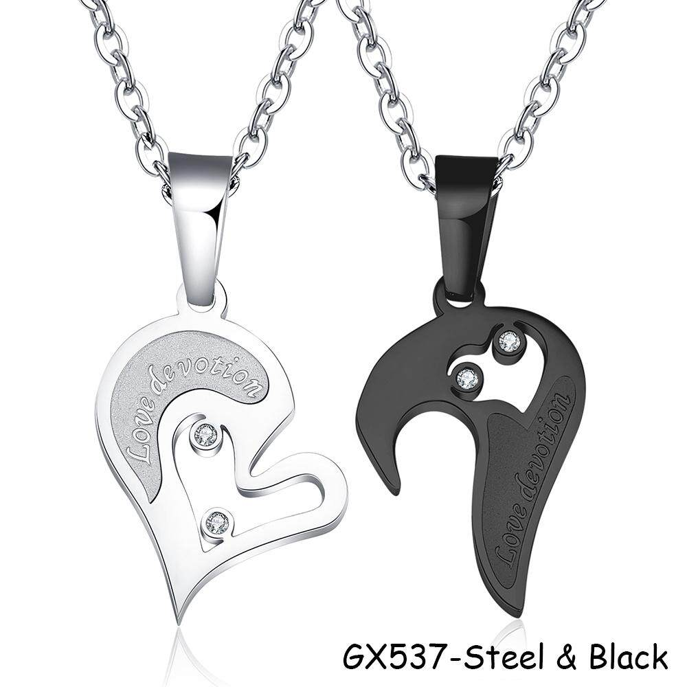 853b57227f 1 Pair Love Devotion Heart Shaped Stainless Steel Couples Pendant Necklace  Wedding Party Romantic Gift -