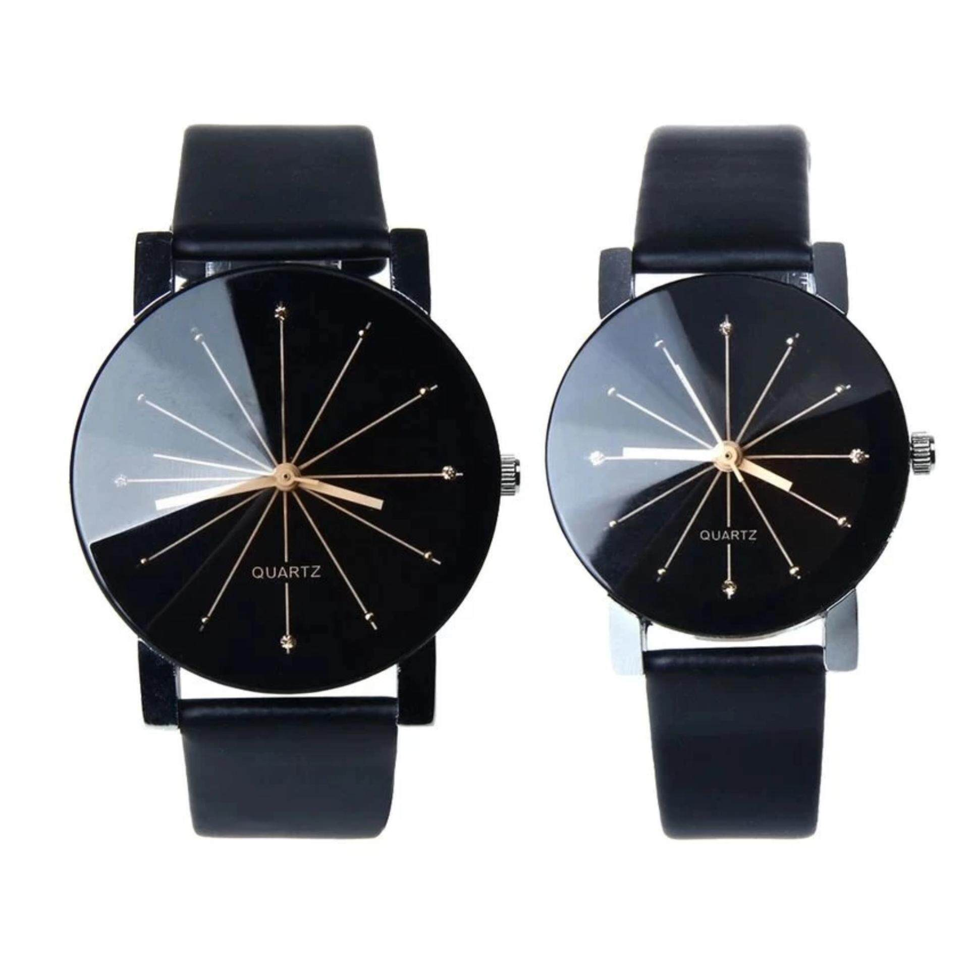 ZB 1 Pair of Couple Wrist Watch Casual PU Leather Round Dial Watchband (Black)