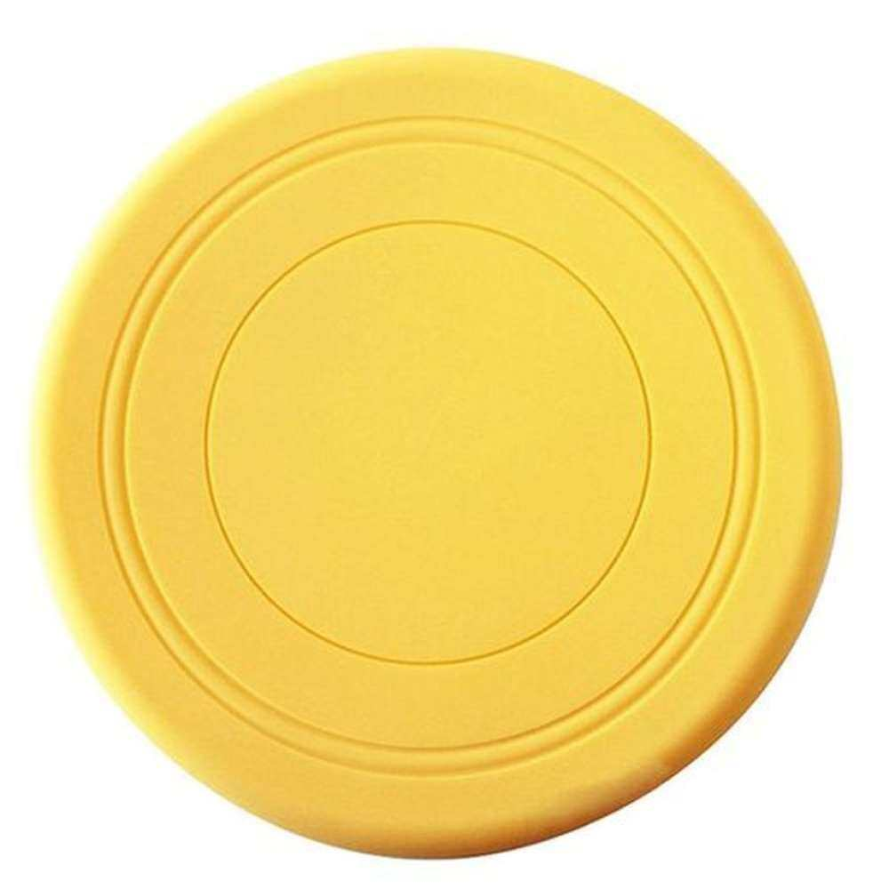 1 pcs Soft Silicone Flying Disc Frisbee Pet Dog OutdoorTrainingFetch Toy Yellow
