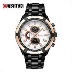 (100% Authentic) CURREN 8023 Stainless Steel Band Mens Analog Quartz Watch (Black Gold) Malaysia