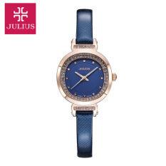 MYR 89 (100% Authentic) Julius Ladies' Korean Fashion Design Genuine Leather Wristwatch Diamond Dial Quartz Watch ...