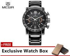 (100% Authentic) MEGIR 3008G Mens Stainless Steel Analog Quartz Wrist Watch Calendar Chronograph 3ATM Water Resistant Malaysia